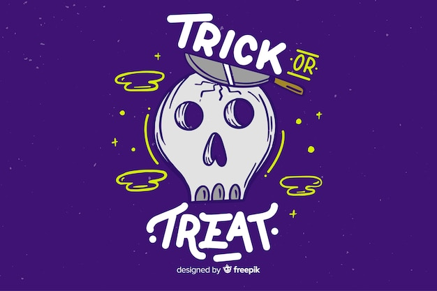 Trick or treat lettering with skull