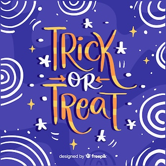 Trick or treat lettering with starry night sky