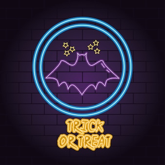 Trick or treat neon light of bat flying with stars vector illustration design