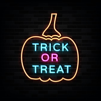 Trick and treat neon sign illustration