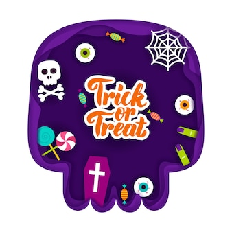 Trick or treat paper cut concept. vector illustration. happy halloween holiday.