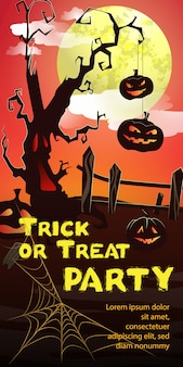 Trick or treat party lettering. pumpkins hanging on tree, cobweb