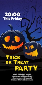 Trick or treat party this friday text. pumpkins, cobweb, tree