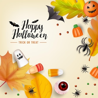 Trick or treat poster with candy and pumpkins vector