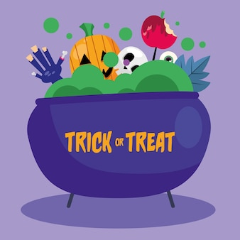 Trick or treat pumpkin hand and skull inside witch bowl design, halloween scary theme