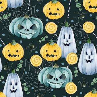Trick or treat pumpkins and candies seamless pattern on dark background