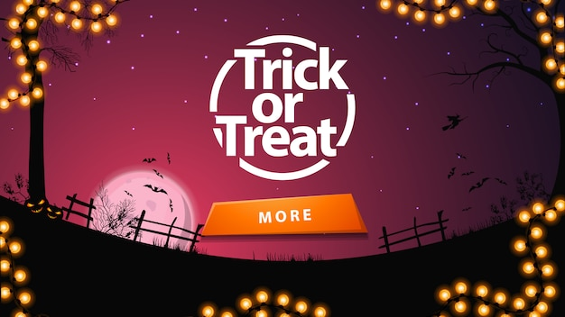 Trick or treat, purple greeting postcard with button and halloween landscape o