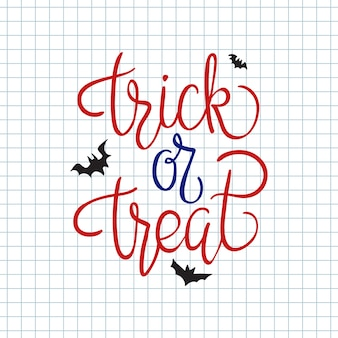 Trick or treat. quote. halloween poster with hand lettering and decoration elements