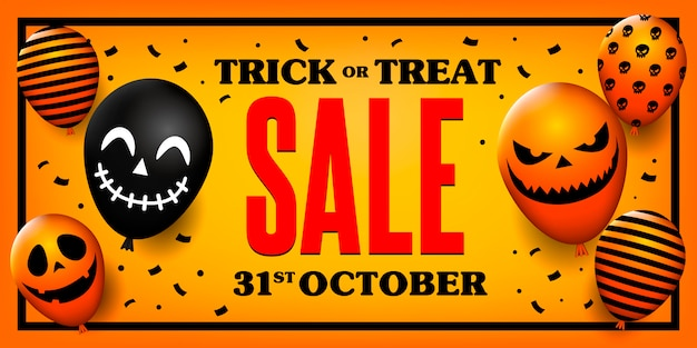 Trick or treat sale banner with scary balloons