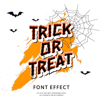 Trick or treat scary text effect with cartoon on white