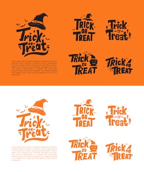 Trick or treat set banner template set