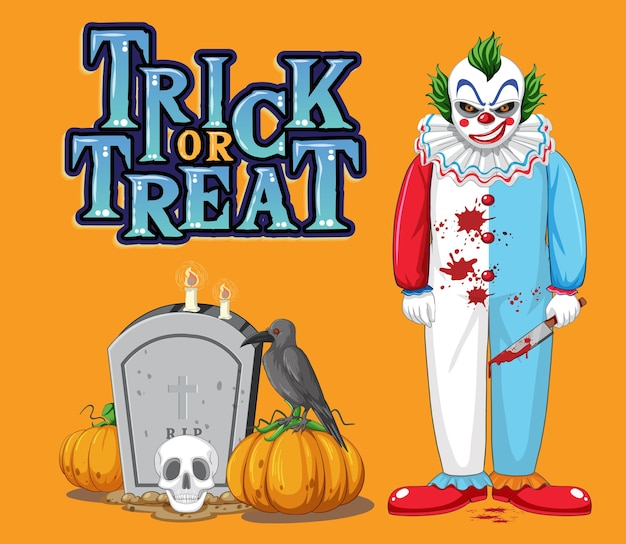 Trick or treat text design with creepy clown