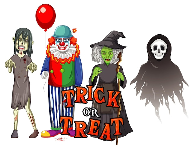 Trick or treat text design with halloween ghost characters