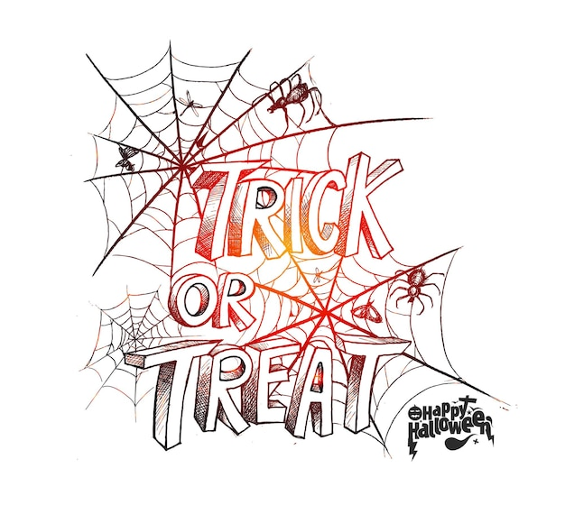 Trick or treat text for halloween poster design with spider net background.