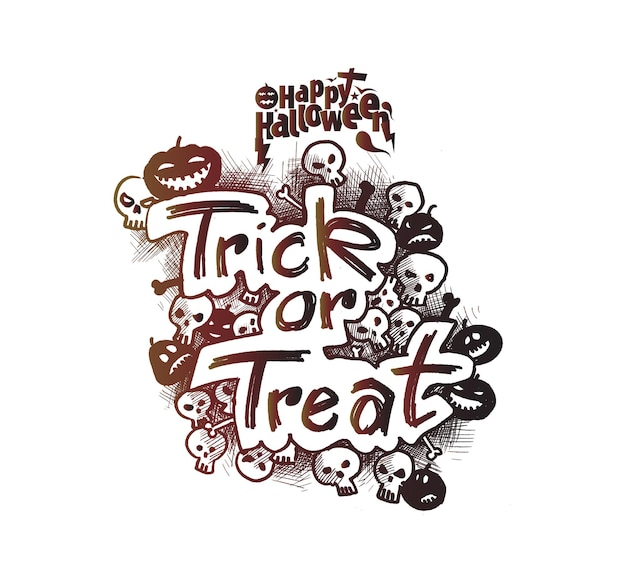 Trick or treat text for halloween poster design.