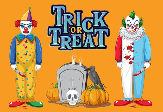 Trick or treat text logo with creepy clowns