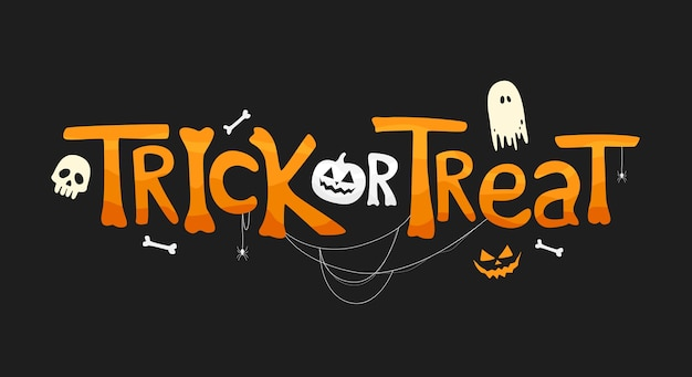 Trick or treat text with traditional elements. holiday illustration on black background for halloween day.