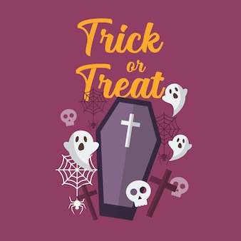 Trick or treat with ghost and coffin. halloween party greeting card.   illustration