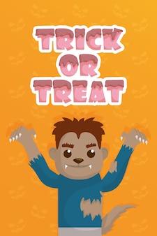 Trick of treat with little werewolf