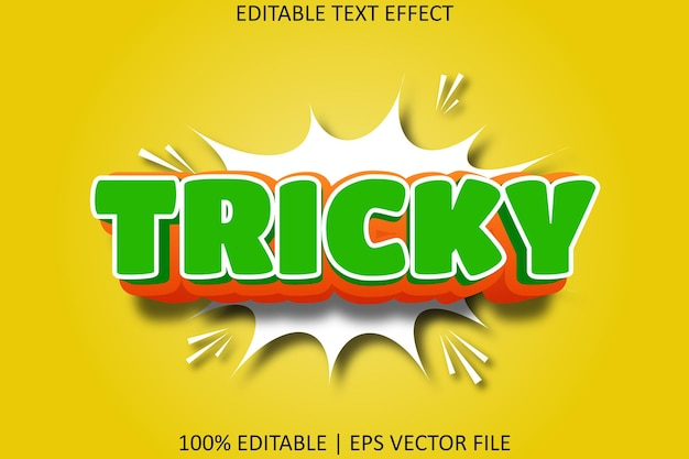 Tricky with cartoon style editable text effect