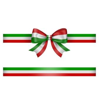 리본 이탈리아어 또는 멕시코 국기 색상으로 삼색 활과 리본 녹색 흰색과 빨간색 활