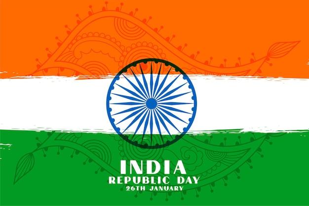 Трехцветный дизайн флага дня республики индии