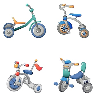 Tricycle bicycle bike icons set