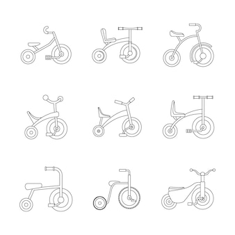 Tricycle bicycle bike wheel icons set