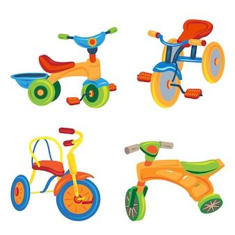 Набор иконок трехколесный велосипед. мультфильм набор иконок трицикл