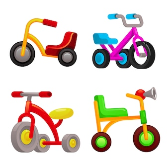 Tricycle icons set, cartoon style
