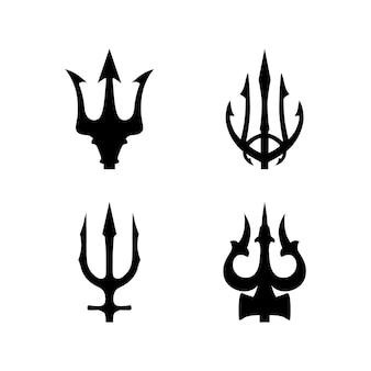 Коллекция трезубцев нептун лорд посейдон тритон king spear дизайн логотипа