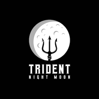 Trident and moon logo design