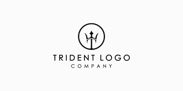 Трезубец нептун посейдон значок дизайн логотипа