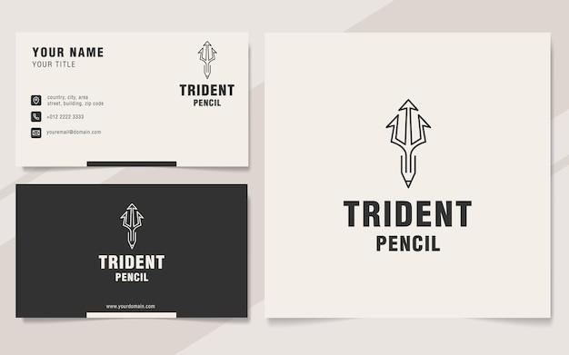 Trident pencil logo template on monogram style