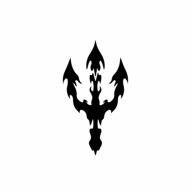 Трезубец символ логотипа племенных тату дизайн трафарет векторные иллюстрации