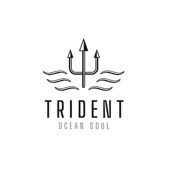 Trident template logo symbol of ocean soul. premium corporate company brand identity emblem. abstract forked spear sign vector illustration