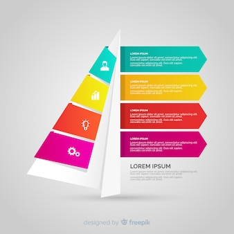 Tridimensional colorful numbered step infographic