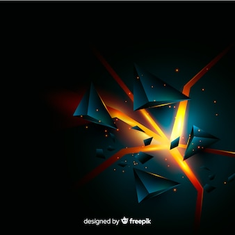 Tridimensional explosion background with light