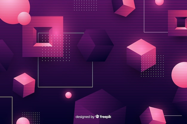 Tridimensional geometric retro futuristic background