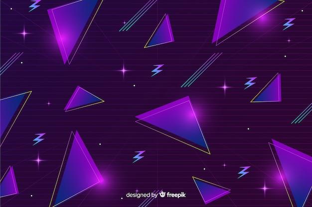 Трехмерный геометрический ретро футуристический фон Бесплатные векторы