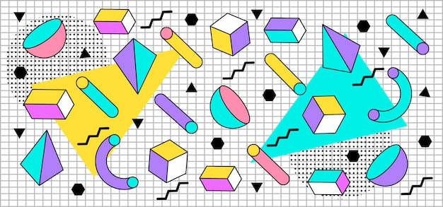 Tridimensional pastel shapes background in memphis style
