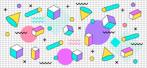 Tridimensional pastel shapes background