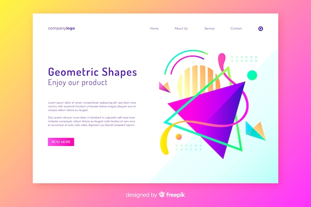 Tridimensional shapes landing page template