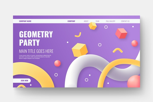 Tridimensional shapes landing page