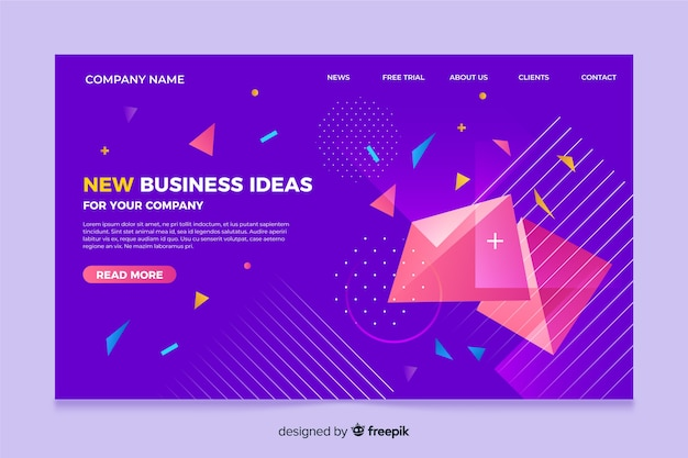 Tridimesional shapes landing page template