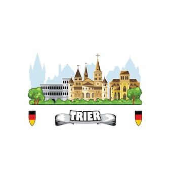 ドイツのトリーア市、街並みと中世の建築物のスカイライン。