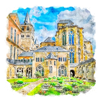 Trier 독일 수채화 스케치 손으로 그린 그림