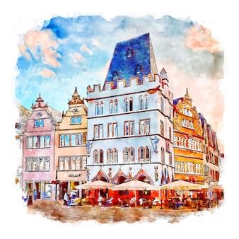 Трир хауптмаркт германия акварельный эскиз рисованной иллюстрации