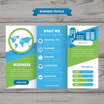 Trifold blue and green business brochure