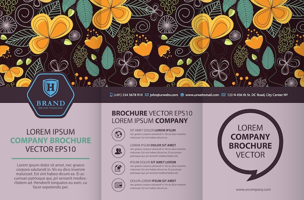 Trifold brochure design template with floral background